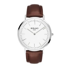 Burano Italy Terranova Watch - Silver Face with Brown Leather Strap
