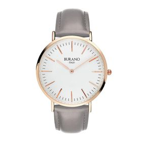 Burano Italy Camilla Watch - Rose Gold Face with Grey Leather Strap