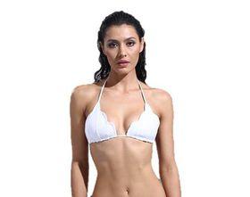 Brazilian Halter Wave Bikini Top - White
