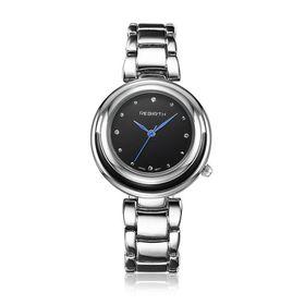 Rebirth Luxury Ladies Stainless Wrist Quartz Watch - Black