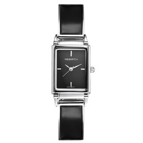 Ladies Luxury Stainless Steel And Leather Watch - Black On Black Dial