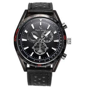 V6 Mens Luxury Sports Leather Watch - Black