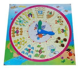 Wooden Puzzle/Counting Clock Combination