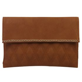 Blackcherry Quilted Clutch Bag - Camel