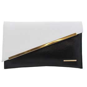 Blackcherry Asymmetrical Clutch Bag - Black and White