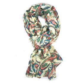 Paisley Print Scarf In Shades Of  Blues, Pinks & Cream - TLS089