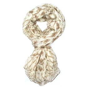 Lily & Rose White & Brown Aztec Print Scarf - TLS096
