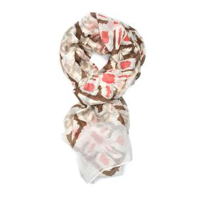 Lily & Rose Brown & Red Geometric Design Scarf - TLS097
