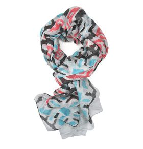 Lily & Rose Blue, Black & Red Geometric Design Scarf - TLS099