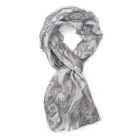 Lily & Rose Grey Paisley Design Scarf - TLS104