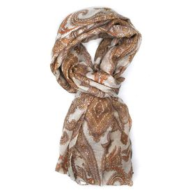 Lily & Rose Brown Paisley Design Scarf - TLS105