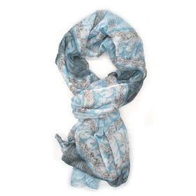 Blue, Brown & Cream Floral Linear Mix Design Scarf - TLS106