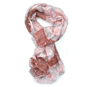 Red,Grey & White Floral & Linear Mix Scarf - TLS107