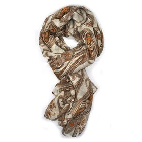 Brown Paisley Design Scarf -TLS112