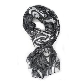 Black Paisley Design Scarf - TLS113