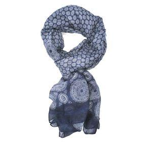Blue  Flower Mosaic Pattern Design Scarf - TLS118