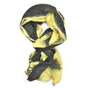 Black & Yellow Flower Design Scarf - TLS124
