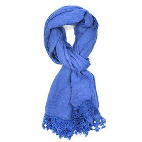 Blue Crochet Pattern Edge Scarf - TLS133