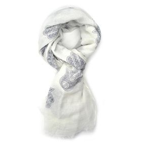 White & Blue Fatima'S H& Print Scarf - TLS141