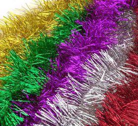 Bulk Pack 12 X Party Tinsel 2m x 7cm, Assorted Colours