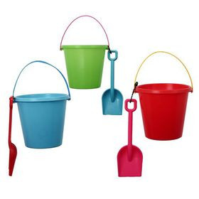 Bulk Pack 12 X Beach Bucket and Spade Assorted Colours, Plastic
