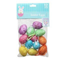 Bulk Pack 12 X Easter Decor Eggs Glitter with Ribbon 12 Piece Pack