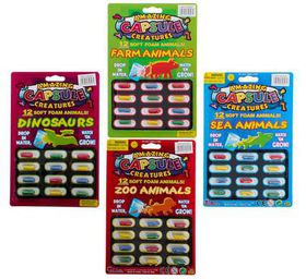 Bulk Pack 10 X Growing Animals In Capsules, Assorted