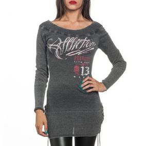 Affliction Womens Hectic Sweater Dress Top With Rhinestones (Parallel Import)
