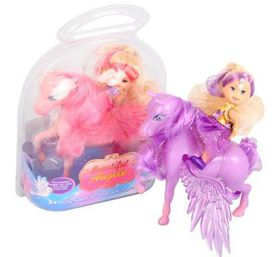 Bulk Pack 3 X Novelty Light Up Pony & Doll 7cm Doll