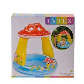 Intex Mushroom Shaded Baby Pool 102 x 89cm 13cm Water Depth Soft Floor