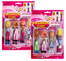 Bulk Pack 5 X Fashion Girl Doll and Accessories Assorted With Interchangeable Hair Etc.