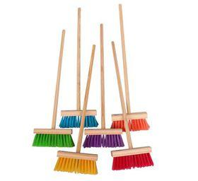 Bulk Pack 8 X Kiddies Kitchen Broom Wooden Handle - Assorted Head Colours