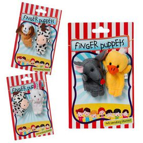 Bulk Pack 6 X Animal Finger Puppets - Pack of 2 Assorted