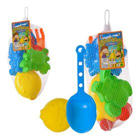 Bulk Pack 6 X Plastic Beach Play Set - 6 Piece Set Assorted Colours