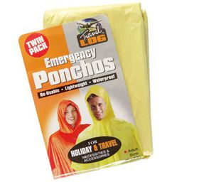 Bulk Pack 5x Plastic Poncho With Hood 132x203cm Twin Pack