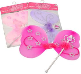 Bulk Pack 4x Princess Secret Fairy Wings & Wand Assorted Colours