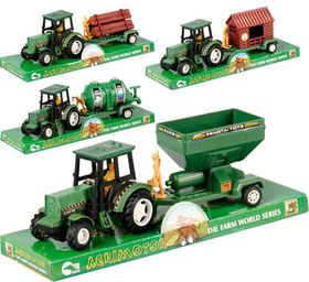 Bulk Pack 4x Agrimotor Tractor & Trailer 30cm Assorted
