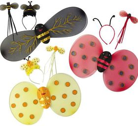 Bulk Pack 3x Bug Wings with Head Band And Wand