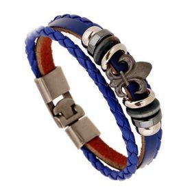 URBAN CHARM Vintage Leather Bracelet Fleur De Lis - Royal Blue