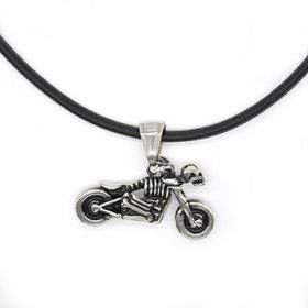 Xcalibur Stainless Steel Motorbike Pendant On A Thong - TXN062
