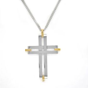 Xcalibur Stainless Steel Two Tone Cross with Highly Polished & Yellow Gold Plating - TXN070