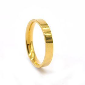 Xcalibur Stainless Steel Gold Plated Wedding Band 4mm Wide & - TXR024 (Size: V)