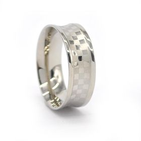 Xcalibur Stainless Stee Gents Check Board Design Ring with Matt - TXR032 (Size: U)