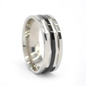 Xcalibur Stainless Steel Band 8mm Wide with 2X Highly Polished - TXR036 (Size: V)