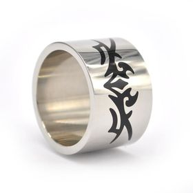 Xcalibur Stainless Steel Band 15mm Wide Ring - Black - TXR038 (Size: V)