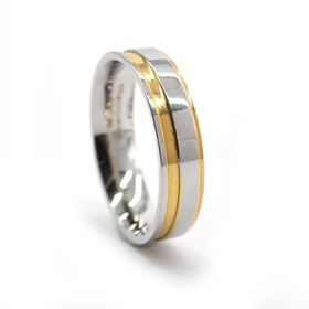 Xcalibur Stainless Steel Twin Pack with 1X 6mm Two Tone Flat Plate Link & Yellow Gold Plated Ring - TXSET002