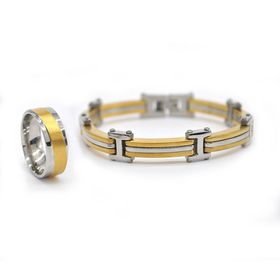 Xcalibur Stainless Steel Twin Pack with 1X 8mm & Yellow Gold Plated Ring - TXSET009