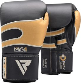 RDX Boxing Gloves Leather P1 Black Gold