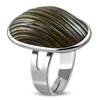 Jewelworx Costume Jewellery Fashion Alloy Sea Shell Brown Pearl Oval Dome Ring