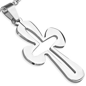 Jewelworx Stainless Steel Cut-Out Pattee Cross Pendant